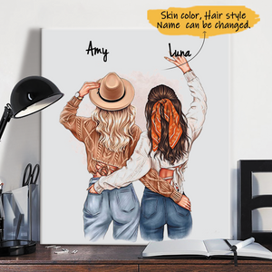 Customize Canvas-Print Gift 2 Sisters-Friends