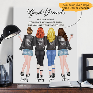 Customize Canvas-Print Gift 4 Sisters Leather Jacket -Friends