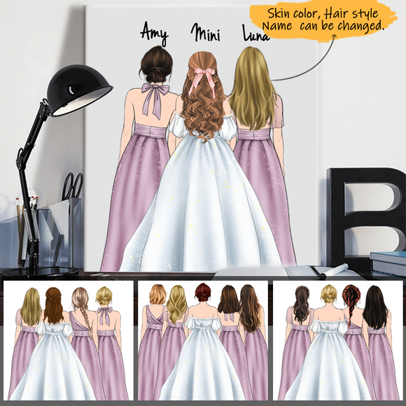 Customize Canvas-Print Bride and Bridesmaids-Wedding