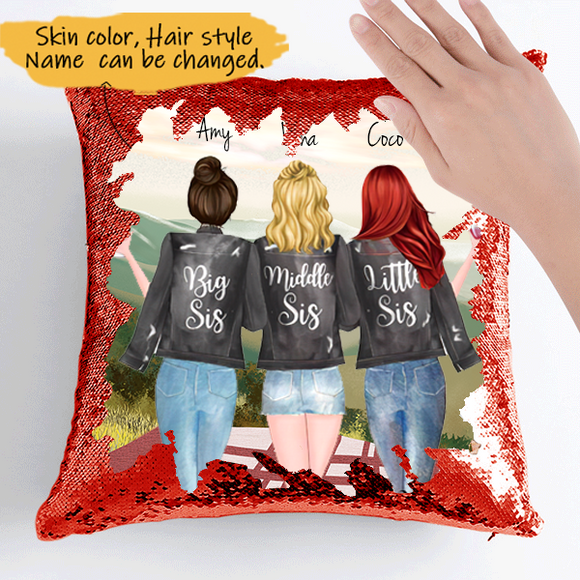 Customize Sequins Pillow Cases For 3 Sisters Black Jacket  -Friends