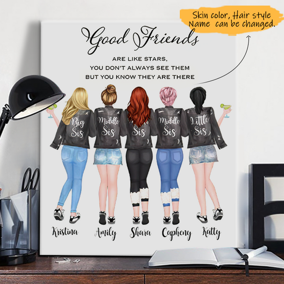 Customize Canvas-Print Gift 5 Sisters Leather Jacket -Friends
