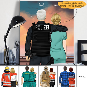 Customize Canvas Print Gift for Friend - German Police Dad and Daughter