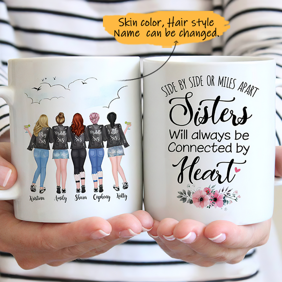 Customize Mug Gift for 5 Sisters Leather Jacket -Friends