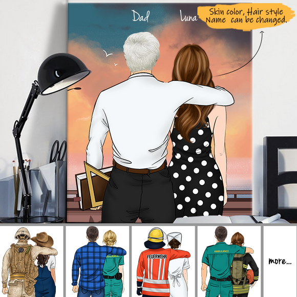 Customize Canvas Print Gift for Friend - Dad and Daughter