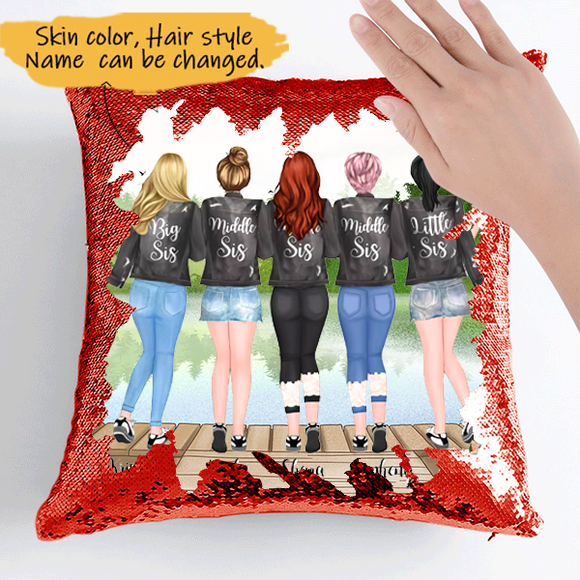 Customize Sequins Pillow Cases For 5 Sisters Black Jacket  -Friends