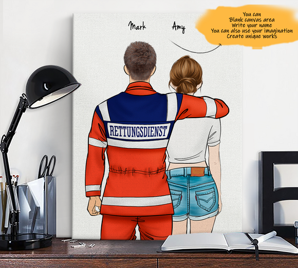 Customize Canvas Print-Ambulance Driver and Gril