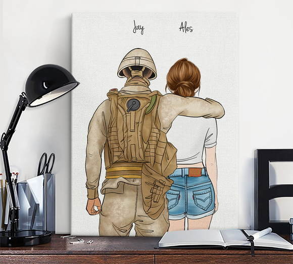Customize Canvas Print-Soldier and Gril