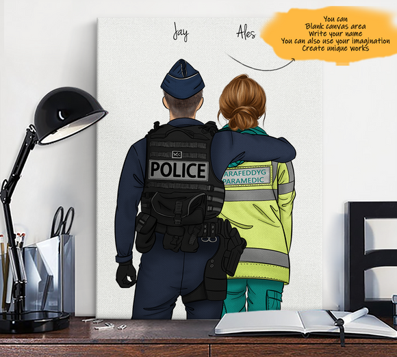 Customize Canvas Print-Navy Police and Gril