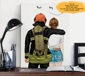 Customize Canvas Print-Firefighter and Gril