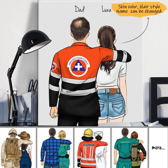 Customize Canvas Print for Friend - French Medical Dad and Daughter