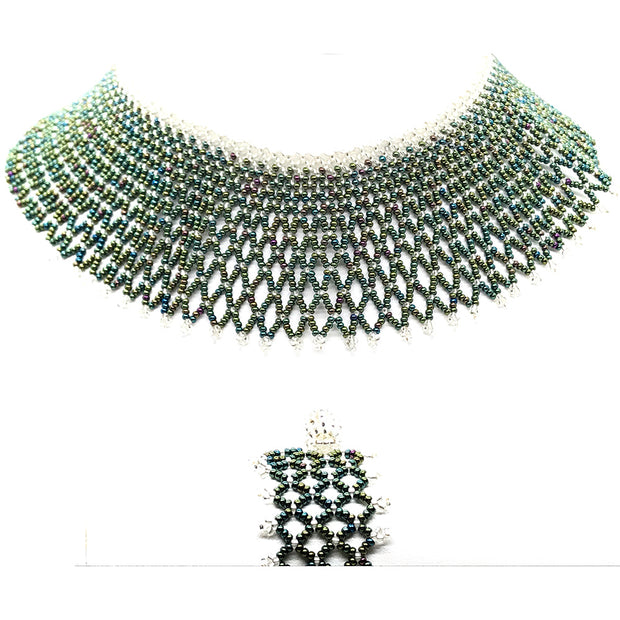 Beaded Collar Necklace with Bracelet