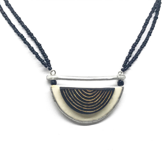 Ostrich Half Moon Necklace
