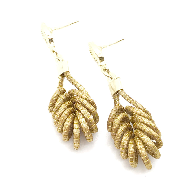 Gold Grass Earrings Medium