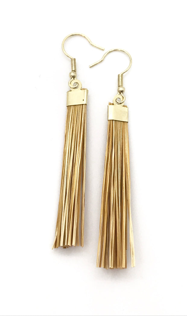 Gold Grass Earring Small