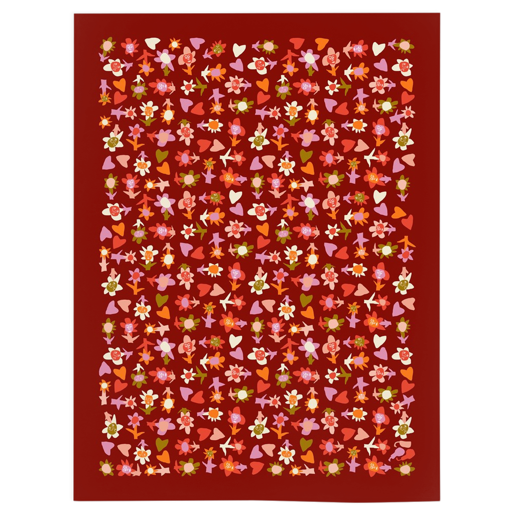 Small Blooming Hearts Minky Blanket