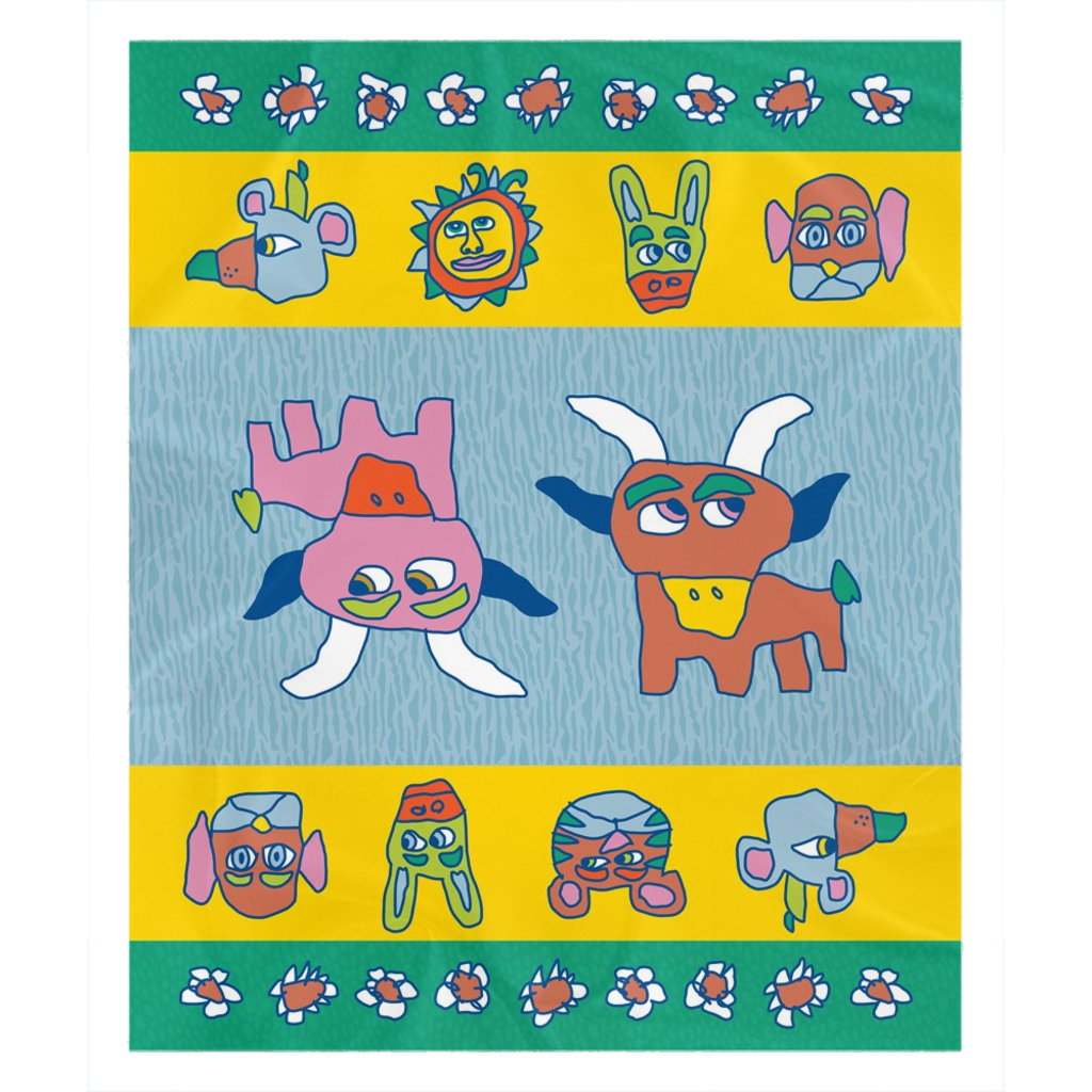 Flowers and Friends Farm to Folk Fleece Sherpa Blanket