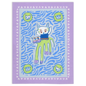 Let's Be Friends Social Minky Blanket Cool Tones