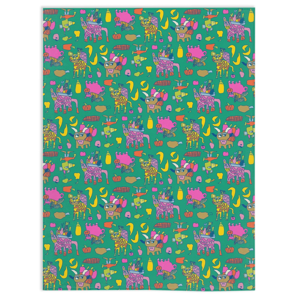 Folk to Farm Green Day Minky Blanket