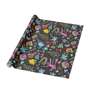 Blah Backwards Black Contrast Wrapping Paper - Roll