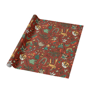 Blah Backwards Vintage Maroon Wrapping Paper - Roll