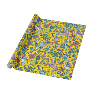 Blah Backwards Bright Sunny Yellow Wrapping Paper - Roll