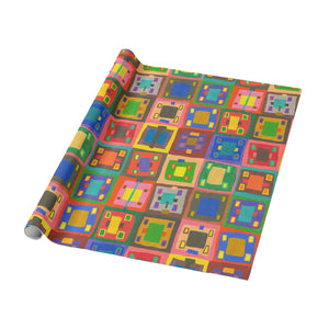 16 Squares Color Rich Organic Geo Wrapping Paper - Roll