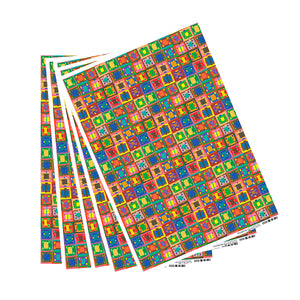 16 Squares Color Rich Organic Geo Wrapping Paper - 5 Sheets