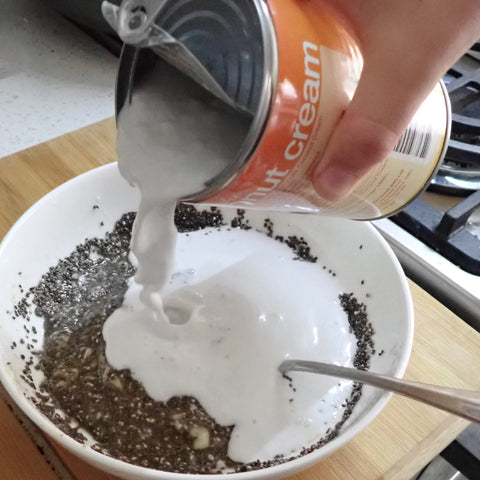 Add chia seeds Pour in cocunut cream