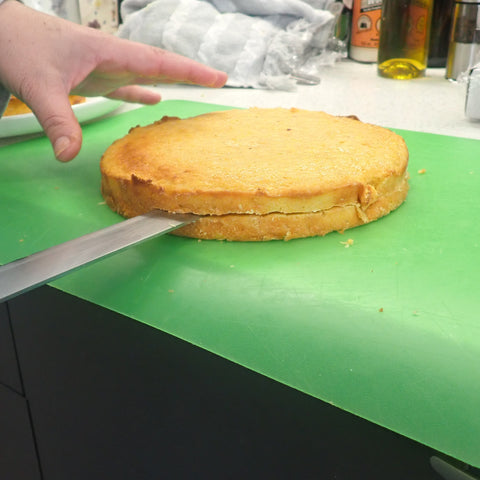 Cut cake into even layers