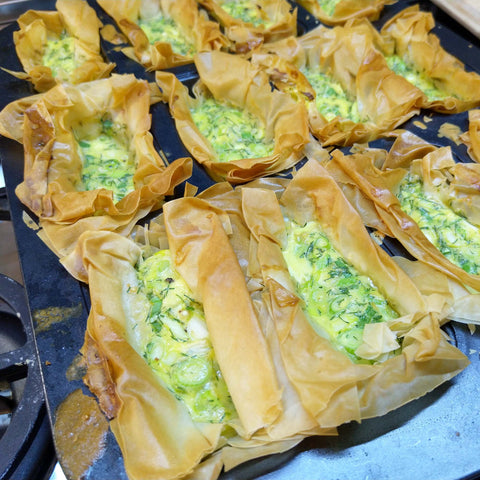 Dill and Smoked Trout Filo Quiches