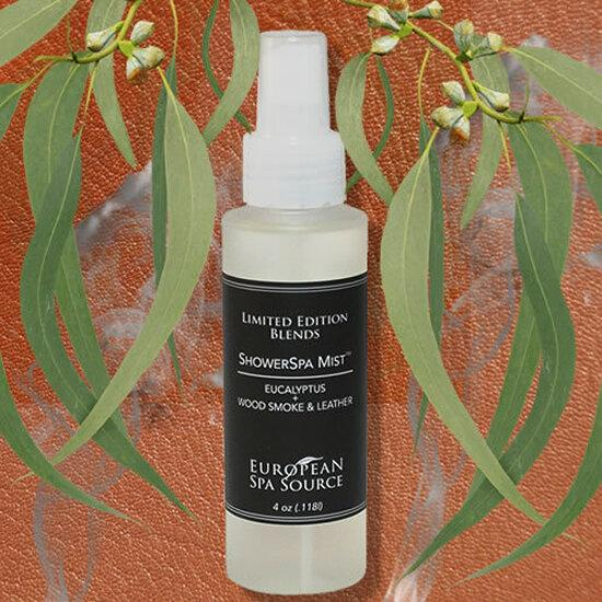 Load image into Gallery viewer, European Spa Source Shower Mist- 4 oz-  Wood Smoke & Leather