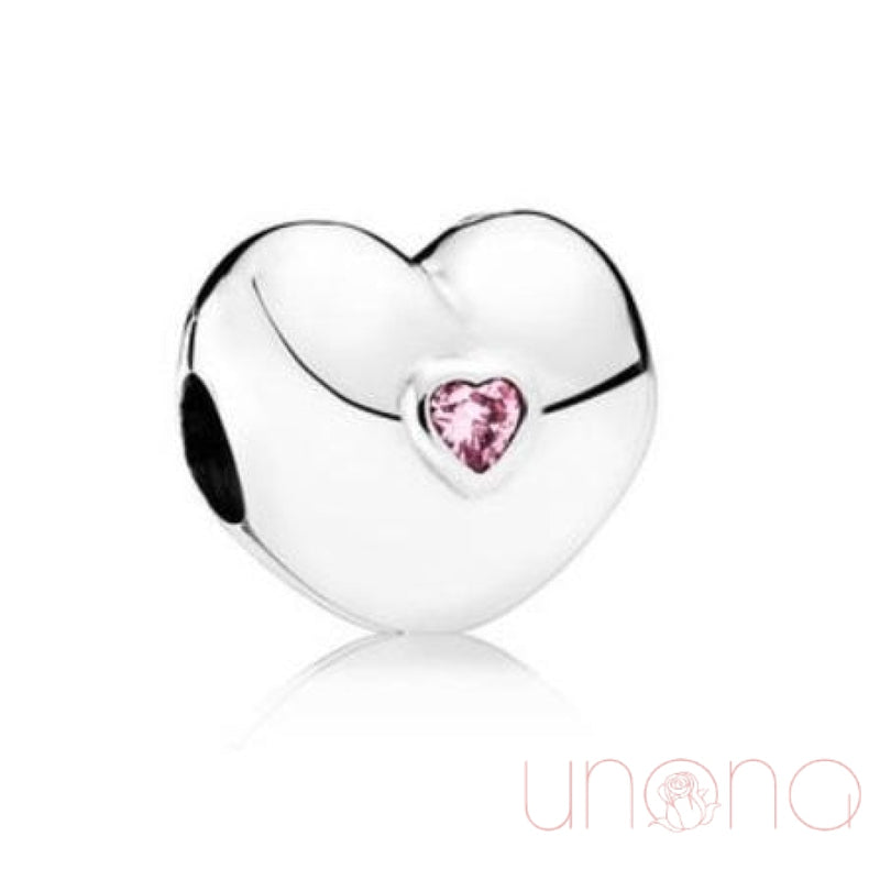 Authentic Pink Stone Heart Charm Jewelry