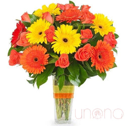 Gorgeous Roses and Bright Gerberas Bouquet
