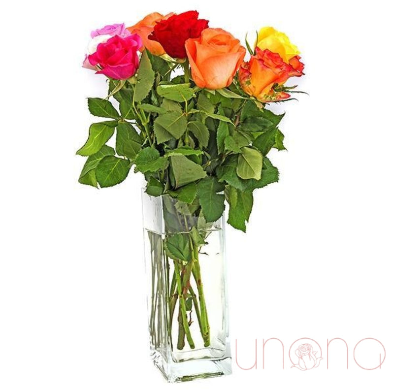 """You are Fabulous"" 7 Multicolored Roses"