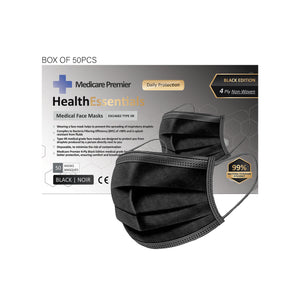 Medicare Premier Box of 50 4-PLY, Non-woven, Type IIR, Disposable Protective Face Masks - Black