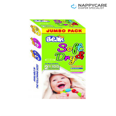 Little Bear Soft and Dry Baby Diapers (100 pcs) JUMBO PACK | nappycare