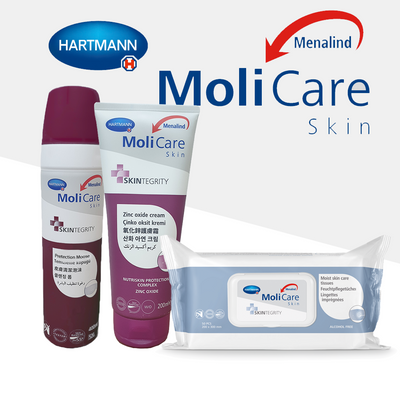 MoliCare Skin Care Bundle  2 (Protection Moose,Zinc Oxide Cream, Moist Care Tissues) | nappycare