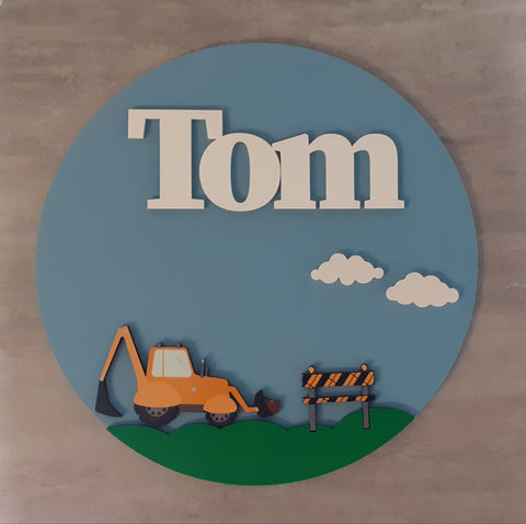Digger - Bedroom Name Sign