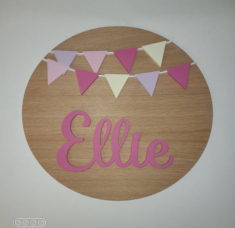 Bunting Bedroom Sign