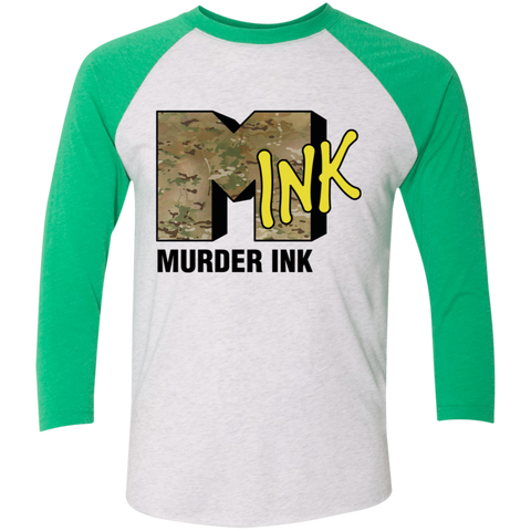 Murder Ink Retro (MINK) Tri-Blend 3/4 Sleeve Baseball Raglan T-Shirt