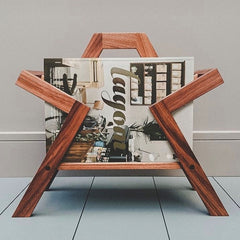 Charlie Caffyn magazine rack in walnut