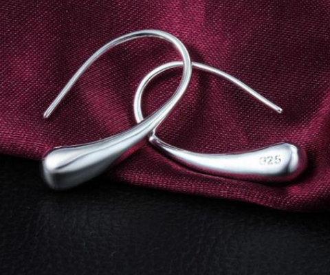 925 Sterling Silver Filled Solid Teardrop Drop Earrings