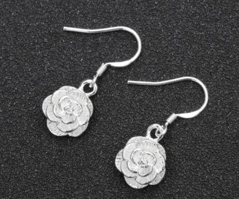 925 Silver Plated Rose Flower Dangle Earrings