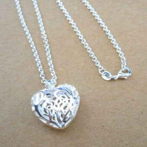 925 Sterling Silver Women Empty Heart Necklace