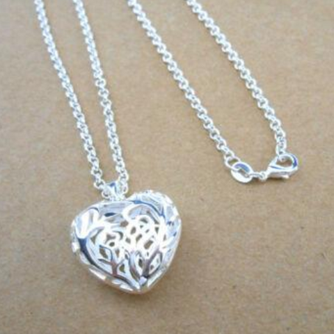 Image of 925 Sterling Silver Women Empty Heart Necklace