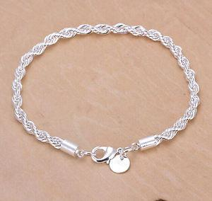 925 Sterling Silver Double Lines Chain Bracelet 4MM