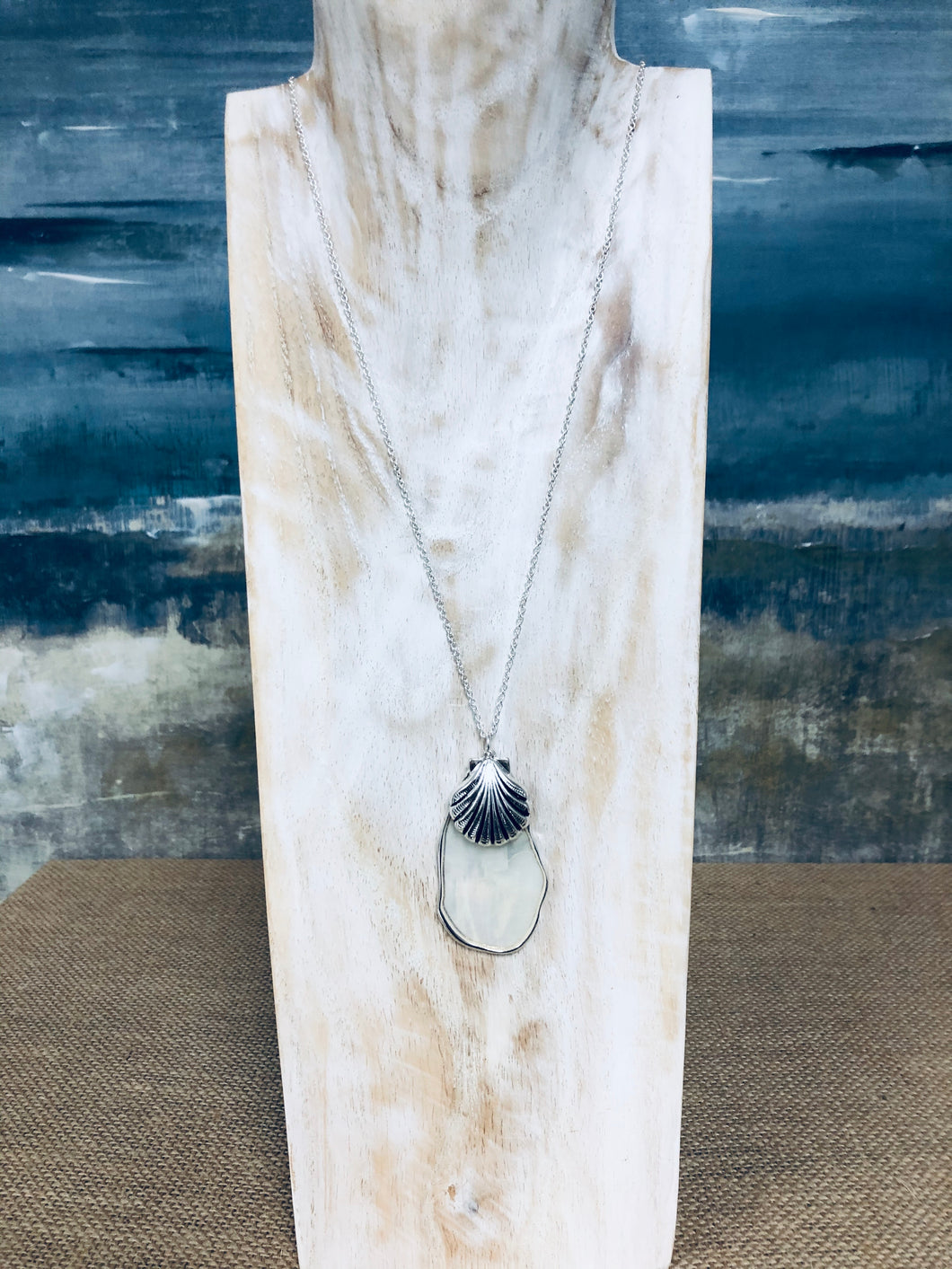 Abstract Mother of Pearl Pendant Long Necklace