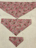 Paisley Dog bandanas, pink . Small, medium, large, fits ON the collar!