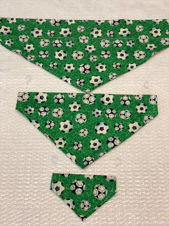 Sports Dog bandanas. Soccer. Small, medium, large, fits ON the collar!