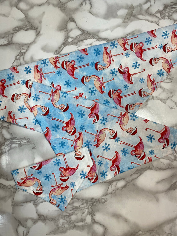 Dog Bandanas, Christmas Flamingos in Santa Hats, small, medium and large,  fits on the collar!